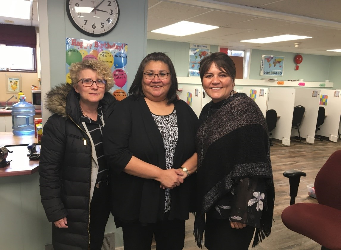 Left to right: Laurie Swami, NWMO President and CEO, Esther Ferris, teacher/principal at Josie Bluff Memorial Christian School, and Cheryl Fort, Mayor of Hornepayne, at Josie Bluff Memorial Christian School.