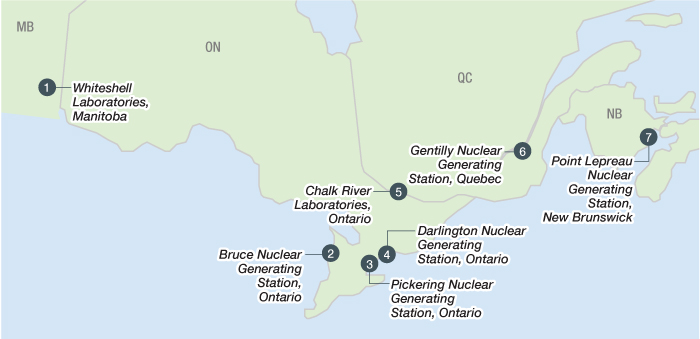 This is a map showing the seven licensed interim storage facilities in Canada where used nuclear fuel is safely managed today.