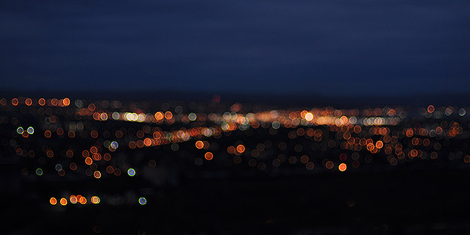 This image shows city lights at night.