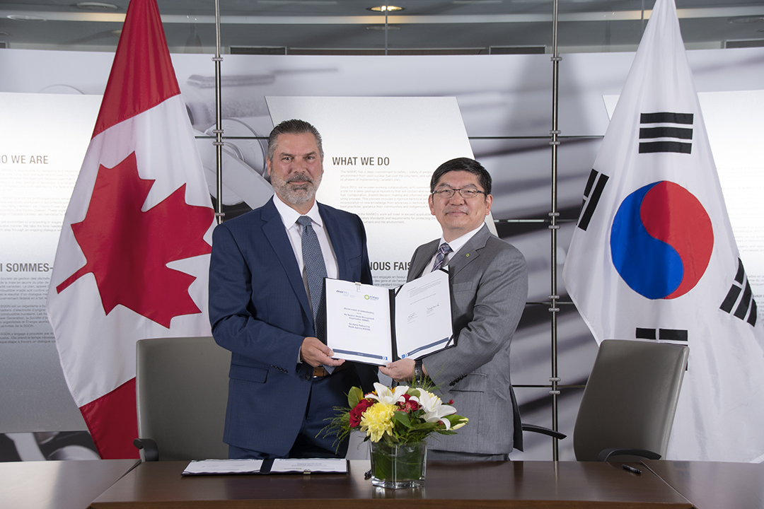 Derek Wilson, Chief Engineer and Vice-President of Contract Management of the NWMO, and Dr. Sung-Soo Cha, President and CEO of KORAD, signed the agreement at a ceremony held at the NWMO Toronto headquarters on Friday, August 23, 2019.