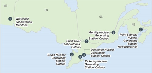 This illustration is a map showing the locations of licensed interim storage facilities in Canada.