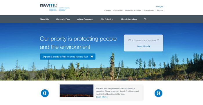 An image of the NWMO's homepage