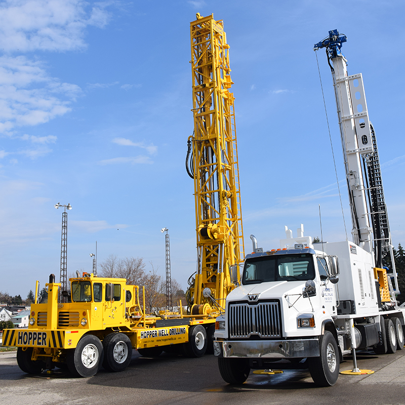 This photo shows two different drill rigs that could potentially be used for drilling core samples.