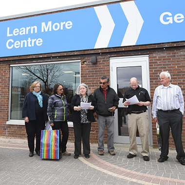 Image of the ribbon-cutting ceremony at the Learn More Centre in Ignace.