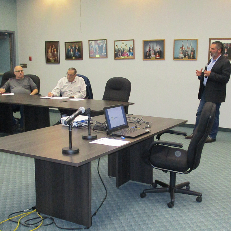 This photo depicts Derek Wilson of the NWMO providing a technical update at the October Manitouwadge Nuclear Waste Community Liaison Committee meeting.