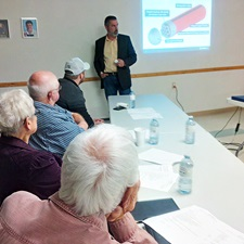 This photo depicts Derek Wilson of the NWMO providing a technical update at the October White River Community Liaison Committee meeting.
