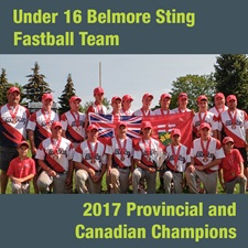 This photo shows a team shot of the 2017 Under 16 Belmore Sting fastball team.