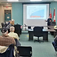 Monique Hobbs makes presentation to Manitouwadge committee.