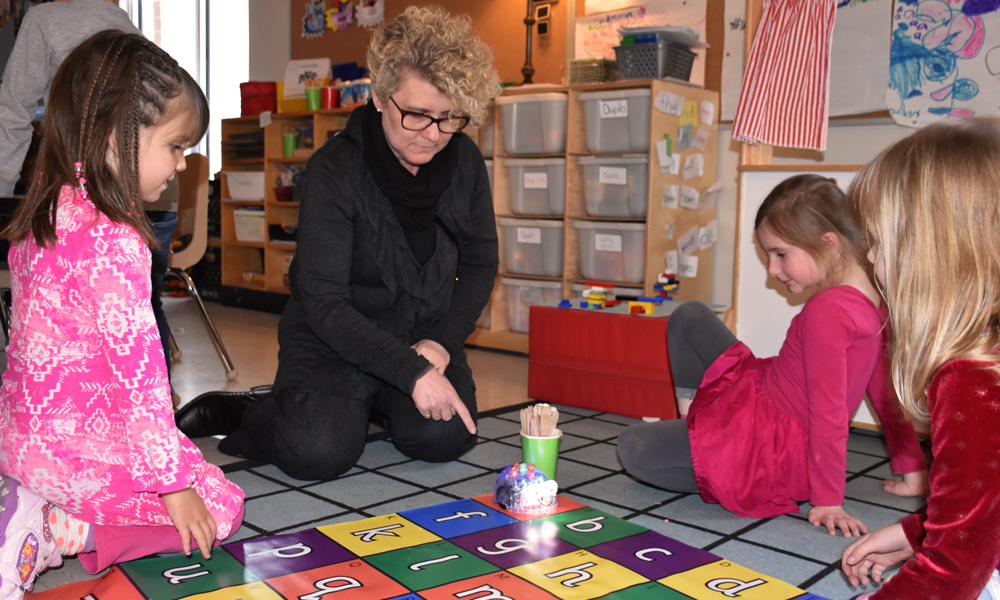 This photo shows Laurie Swami, President and CEO for the NWMO, at Ripley-Huron Community School.