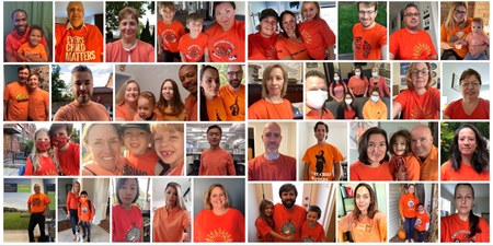 Collage of NWMO employees wearing orange