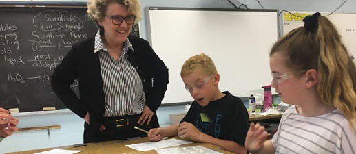 "NWMO President and CEO Laurie Swami takes part in a ""What in the World Is Matter?"" workshop at Sacred Heart Catholic School in Mildmay, Ont."