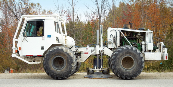 This is an image of a vibroseis truck, which is used to conduct 2-D seismic surveys.